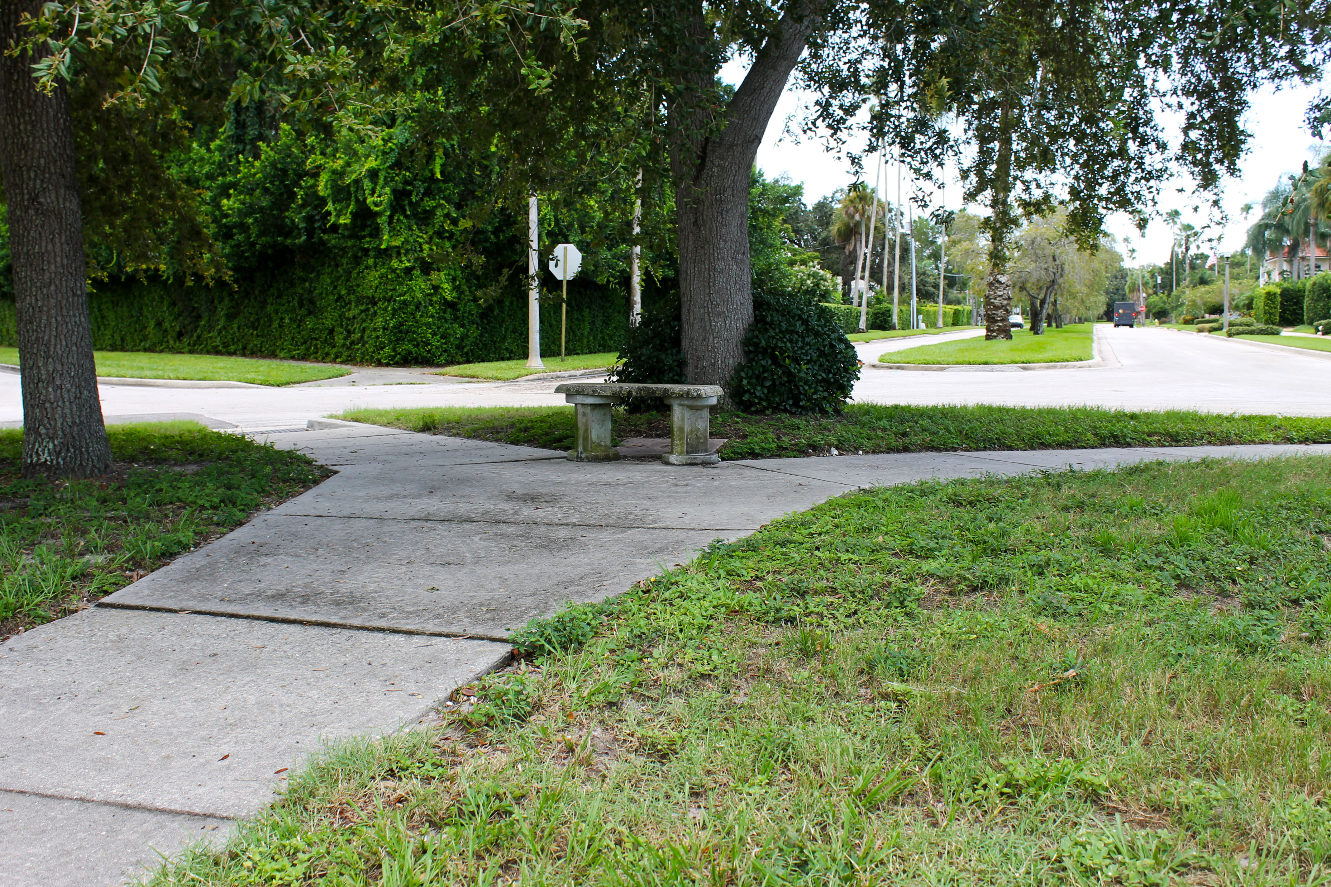 A sidewalk path through Palmview Park that leads to a concrete bench in its center
